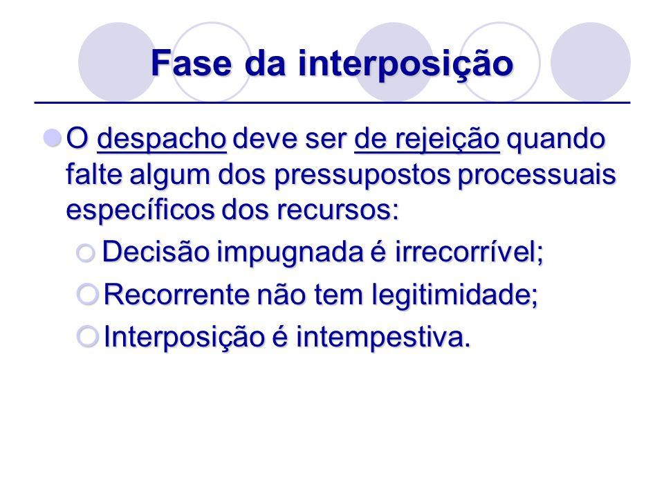 Fase da interposiçãoO despacho deve ser de rejeição quando falte algum dos pressupostos processuais específicos dos recursos: