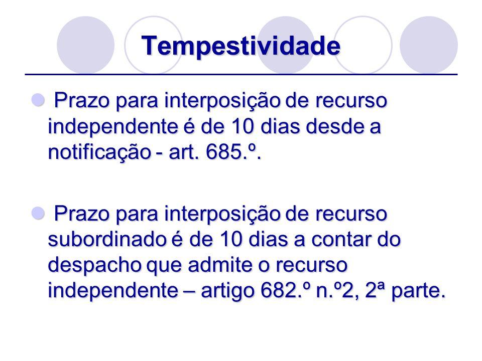 Tempestividade Prazo para interposição de recurso independente é de 10 dias desde a notificação - art. 685.º.