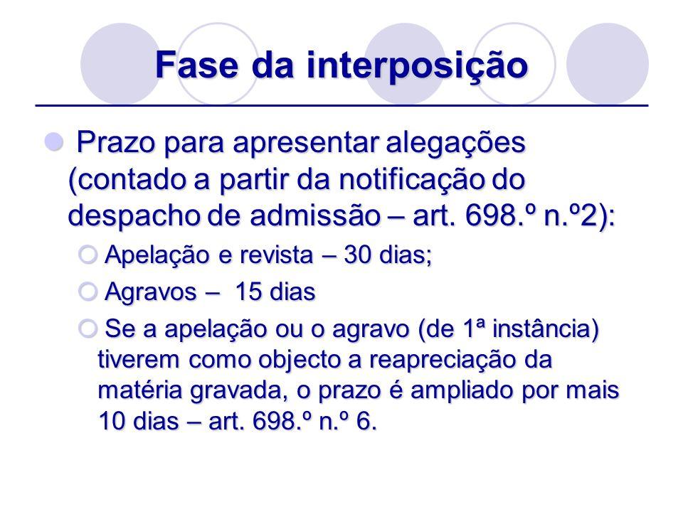 Fase da interposição Prazo para apresentar alegações (contado a partir da notificação do despacho de admissão – art. 698.º n.º2):