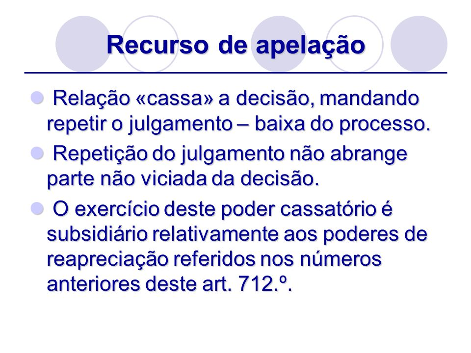 Recurso de apelação Relação «cassa» a decisão, mandando repetir o julgamento – baixa do processo.