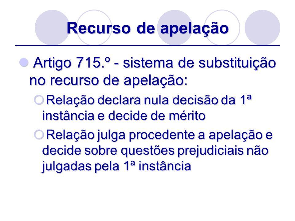 Recurso de apelaçãoArtigo 715.º - sistema de substituição no recurso de apelação: Relação declara nula decisão da 1ª instância e decide de mérito.