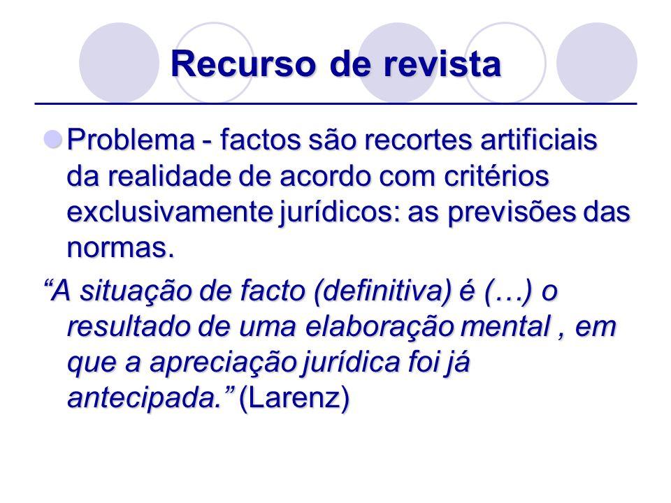 Recurso de revistaProblema - factos são recortes artificiais da realidade de acordo com critérios exclusivamente jurídicos: as previsões das normas.