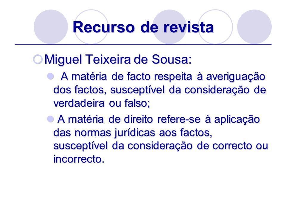 Recurso de revista Miguel Teixeira de Sousa: