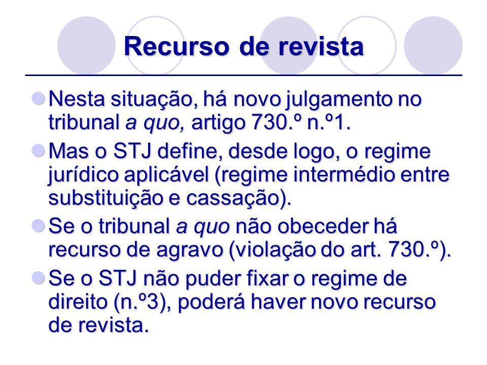 Recurso de revistaNesta situação, há novo julgamento no tribunal a quo, artigo 730.º n.º1.