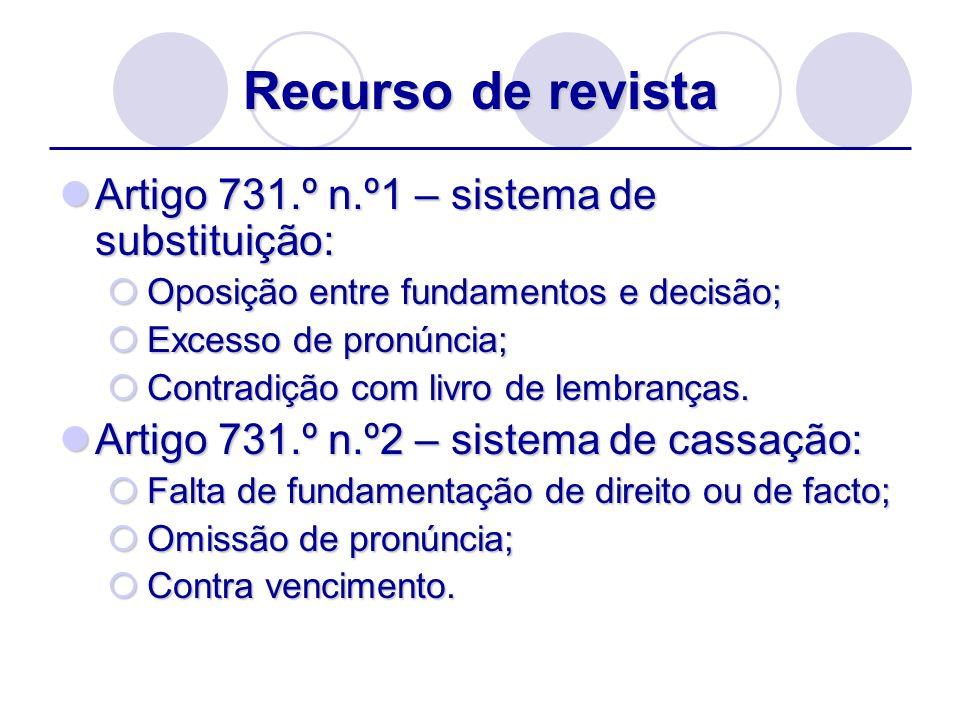 Recurso de revista Artigo 731.º n.º1 – sistema de substituição:
