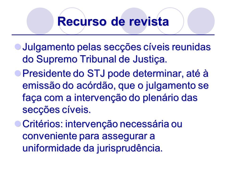 Recurso de revistaJulgamento pelas secções cíveis reunidas do Supremo Tribunal de Justiça.