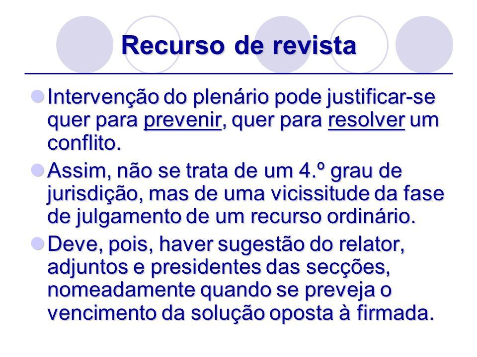 Recurso de revistaIntervenção do plenário pode justificar-se quer para prevenir, quer para resolver um conflito.
