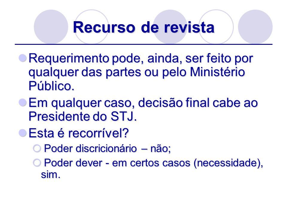 Recurso de revistaRequerimento pode, ainda, ser feito por qualquer das partes ou pelo Ministério Público.