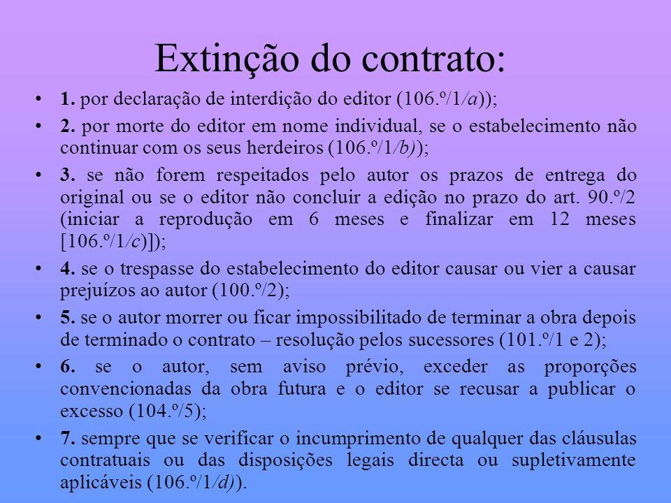 Extinção do contrato: 1. por declaração de interdição do editor (106.º/1/a));