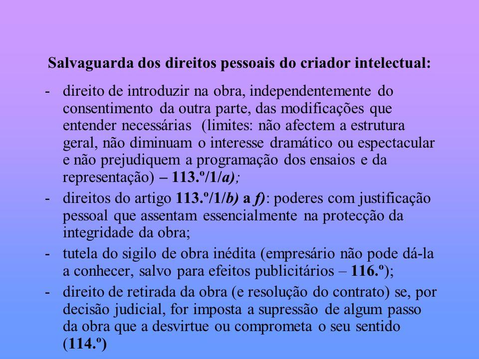 Salvaguarda dos direitos pessoais do criador intelectual: