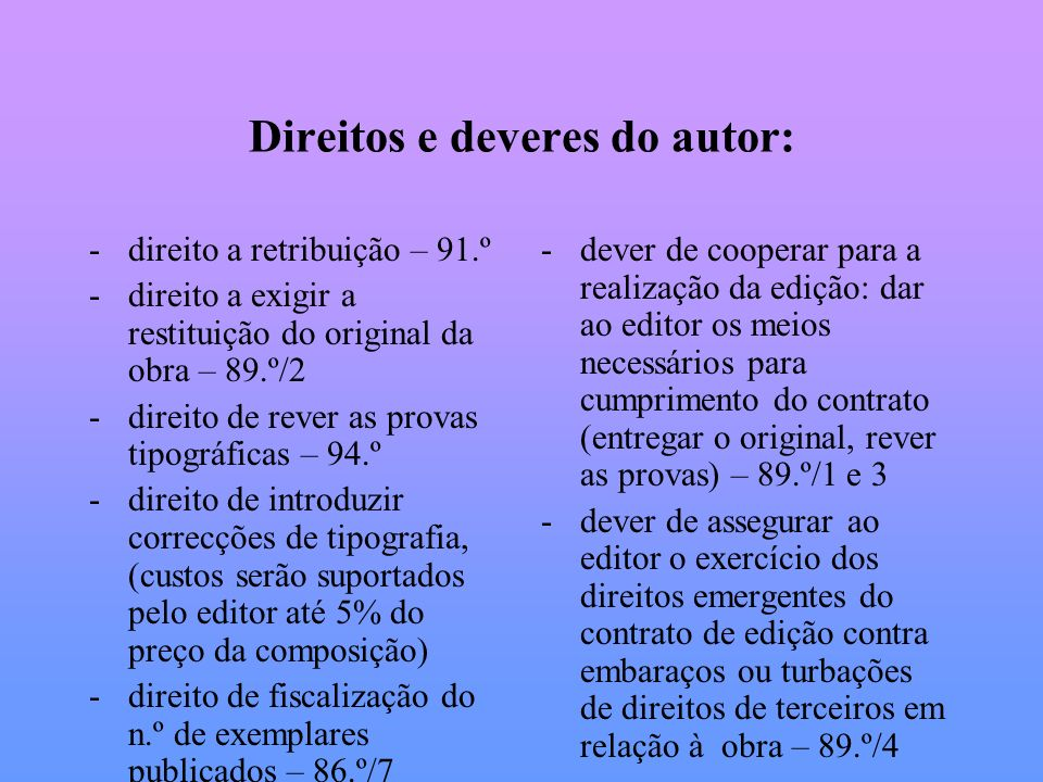 Direitos e deveres do autor: