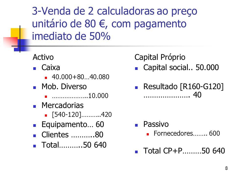 3-Venda de 2 calculadoras ao preço unitário de 80 €, com pagamento imediato de 50%
