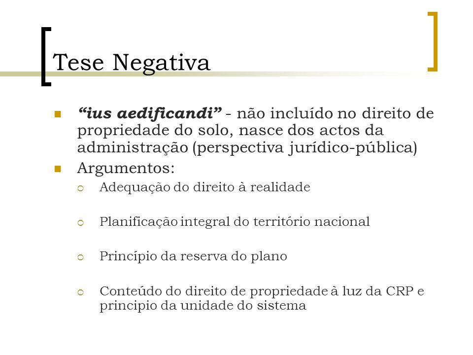 Tese Negativa ius aedificandi - não incluído no direito de propriedade do solo, nasce dos actos da administração (perspectiva jurídico-pública)