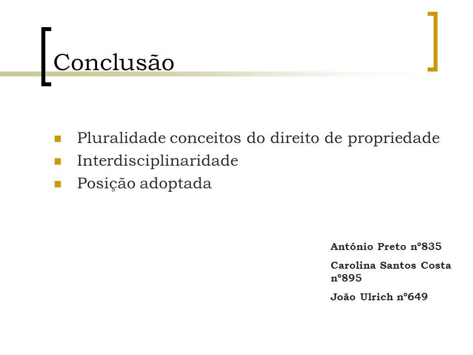 Conclusão Pluralidade conceitos do direito de propriedade
