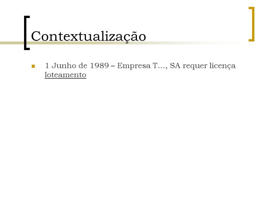 Contextualização 1 Junho de 1989 – Empresa T…, SA requer licença loteamento