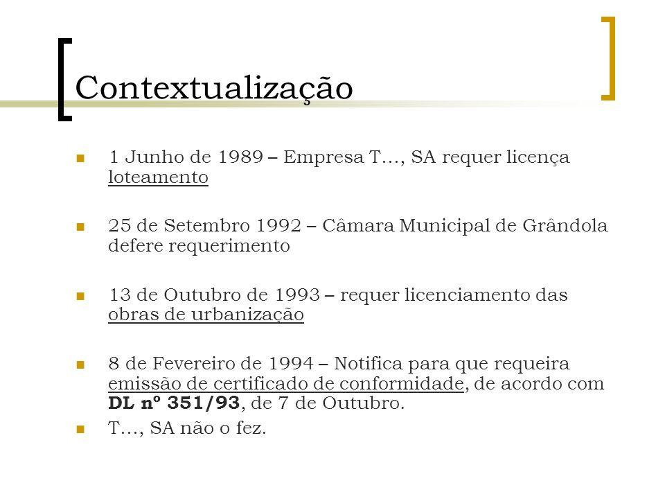 Contextualização 1 Junho de 1989 – Empresa T…, SA requer licença loteamento. 25 de Setembro 1992 – Câmara Municipal de Grândola defere requerimento.