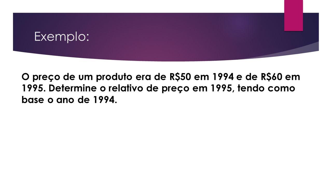 Exemplo: O preço de um produto era de R$50 em 1994 e de R$60 em 1995.
