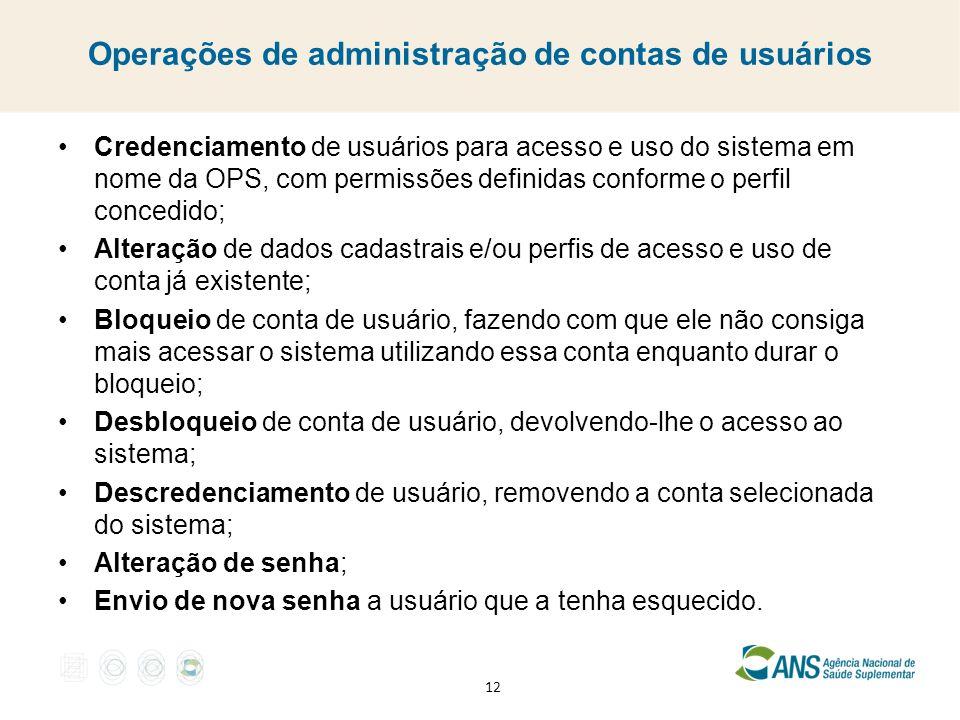 Operações de administração de contas de usuários
