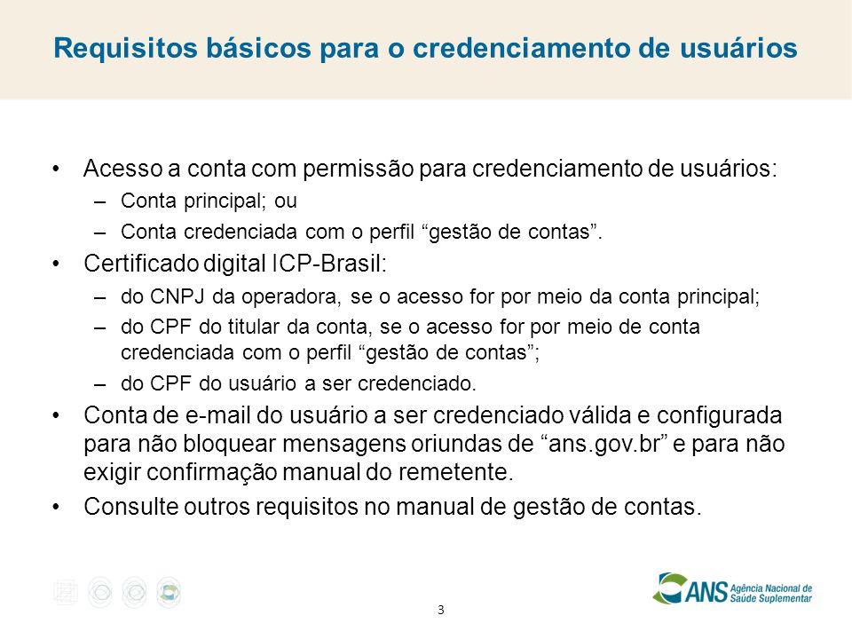 Requisitos básicos para o credenciamento de usuários