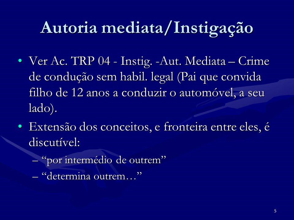 Autoria mediata/Instigação