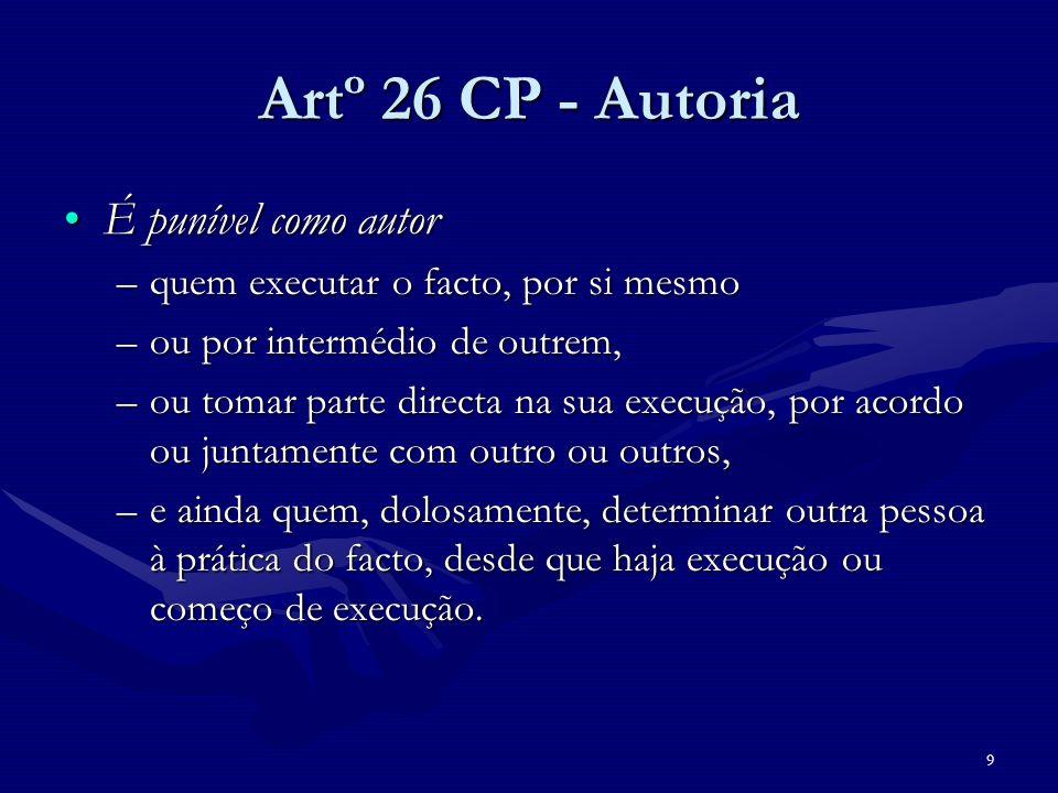 Artº 26 CP - Autoria É punível como autor