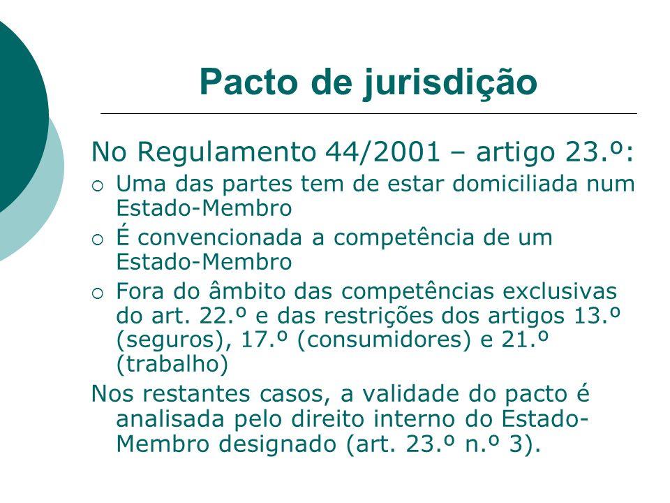 Pacto de jurisdição No Regulamento 44/2001 – artigo 23.º: