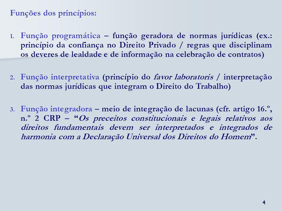 Funções dos princípios:
