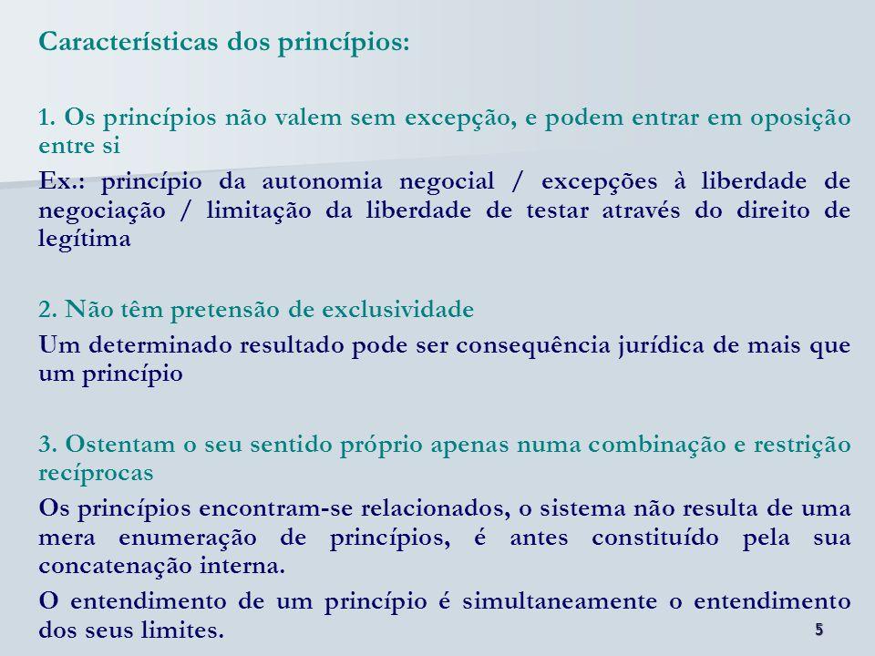 Características dos princípios: