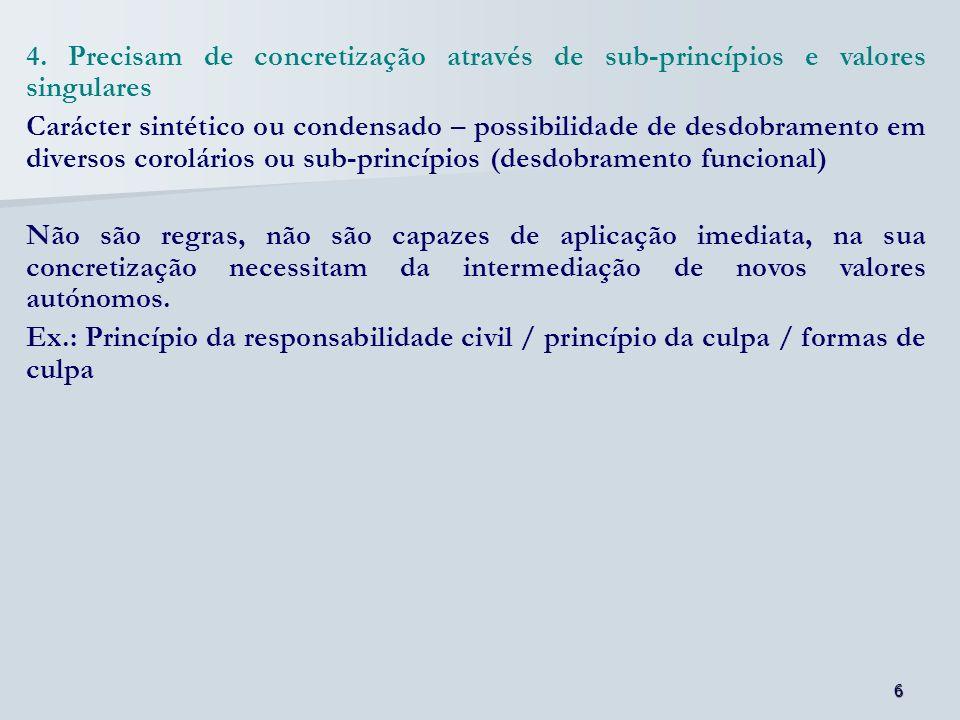 4. Precisam de concretização através de sub-princípios e valores singulares