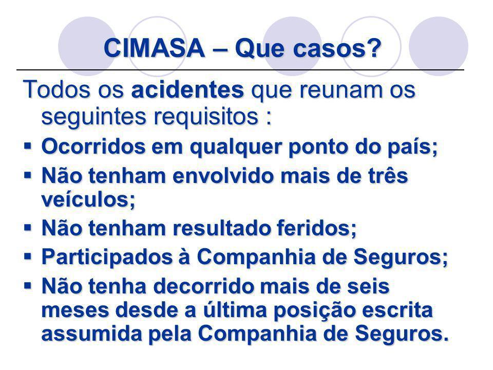 CIMASA – Que casos Todos os acidentes que reunam os seguintes requisitos : Ocorridos em qualquer ponto do país;