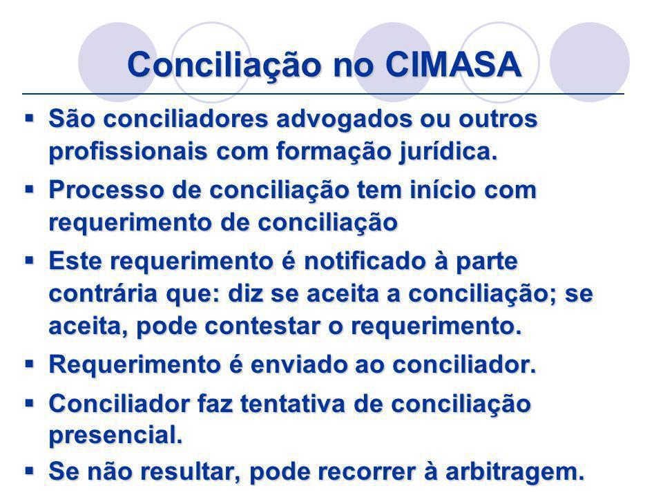 Conciliação no CIMASA São conciliadores advogados ou outros profissionais com formação jurídica.