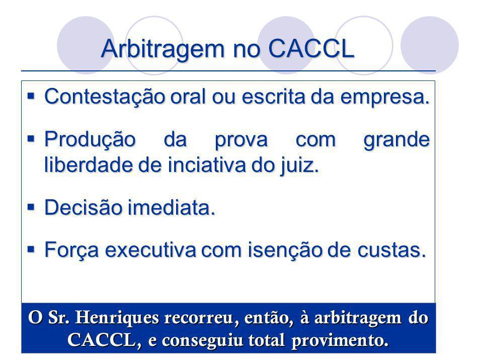 Arbitragem no CACCL Contestação oral ou escrita da empresa.