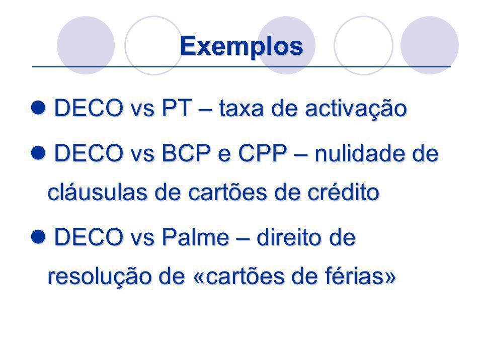 Exemplos DECO vs PT – taxa de activação