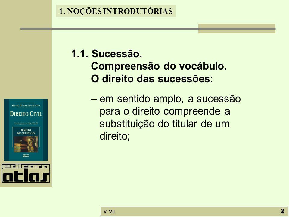 1.1. Sucessão. Compreensão do vocábulo. O direito das sucessões: