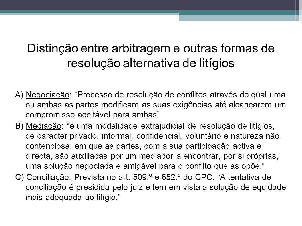 Distinção entre arbitragem e outras formas de resolução alternativa de litígios