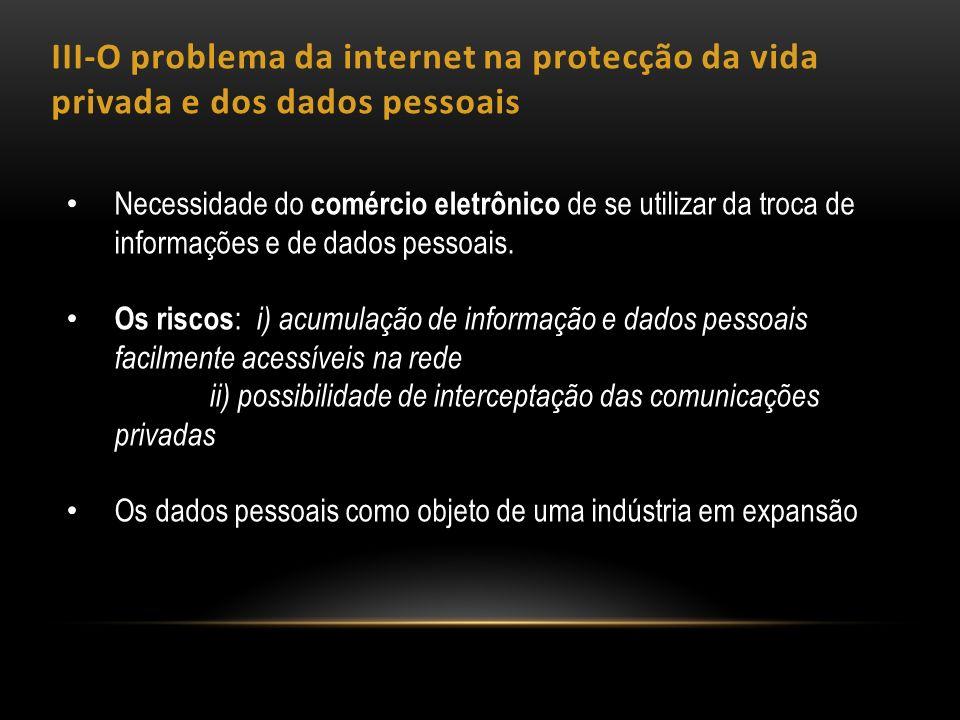 III-O problema da internet na protecção da vida privada e dos dados pessoais