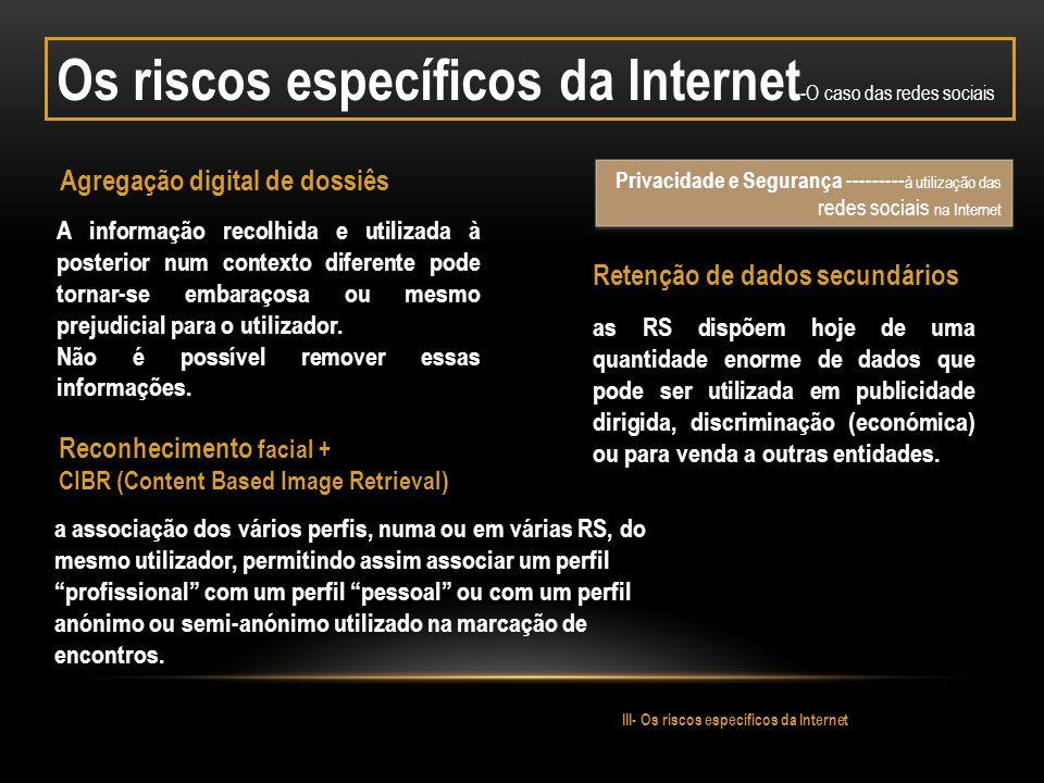 Os riscos específicos da Internet-O caso das redes sociais