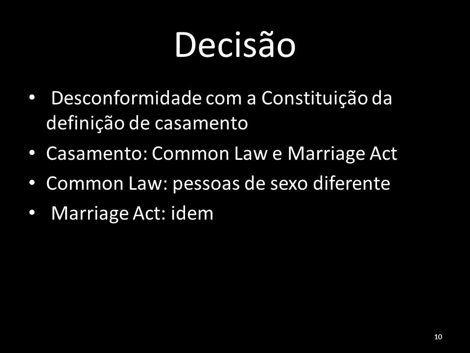 Decisão Desconformidade com a Constituição da definição de casamento