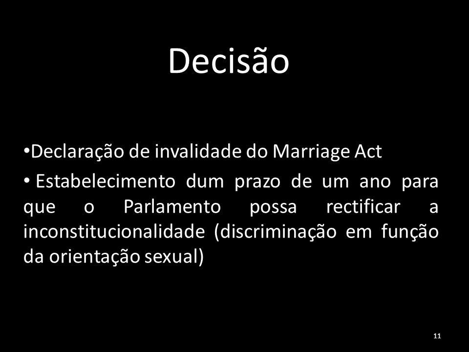 Decisão Declaração de invalidade do Marriage Act