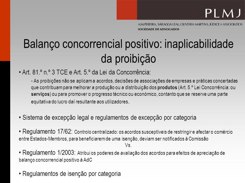 Balanço concorrencial positivo: inaplicabilidade da proibição