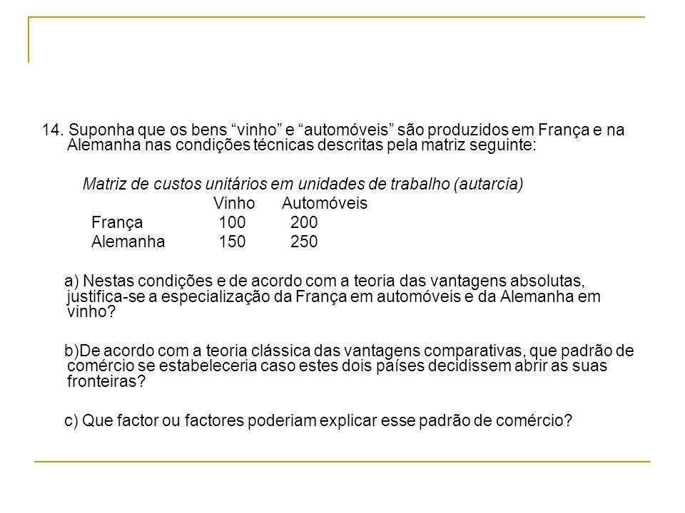 14. Suponha que os bens vinho e automóveis são produzidos em França e na Alemanha nas condições técnicas descritas pela matriz seguinte: