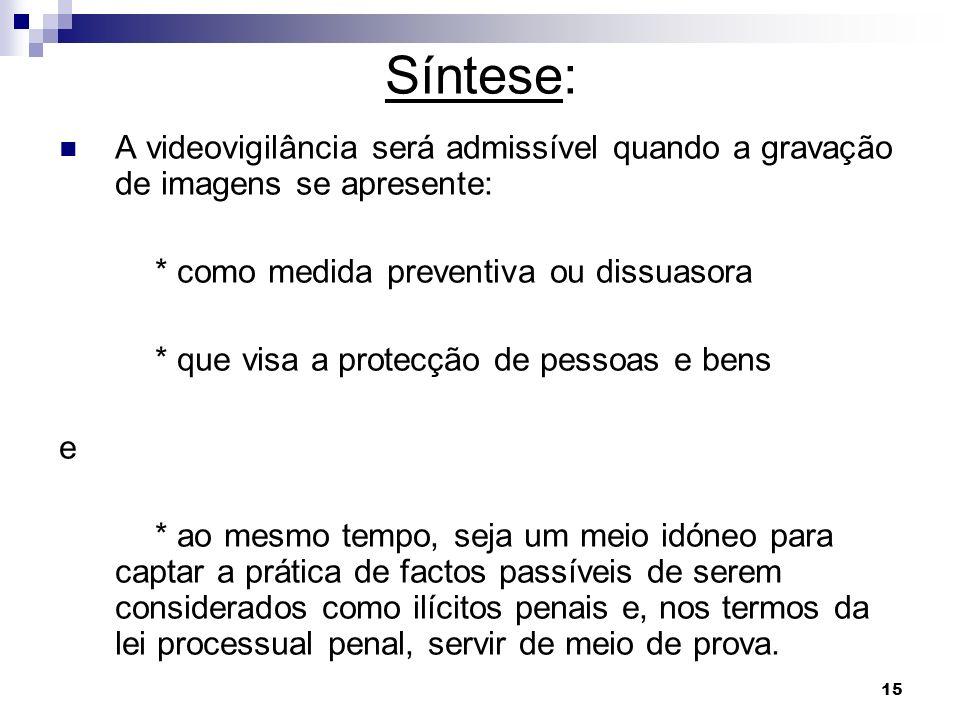 Síntese: A videovigilância será admissível quando a gravação de imagens se apresente: * como medida preventiva ou dissuasora.