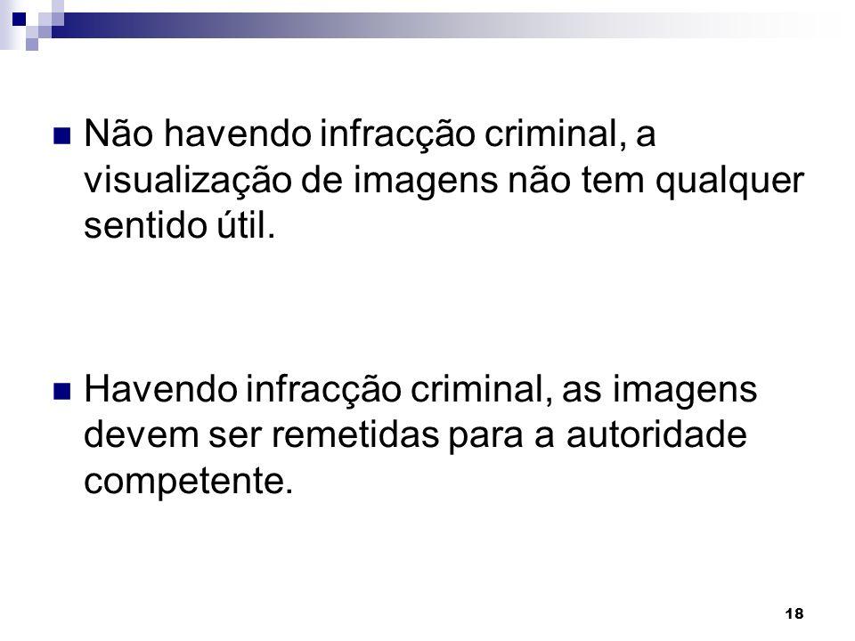 Não havendo infracção criminal, a visualização de imagens não tem qualquer sentido útil.