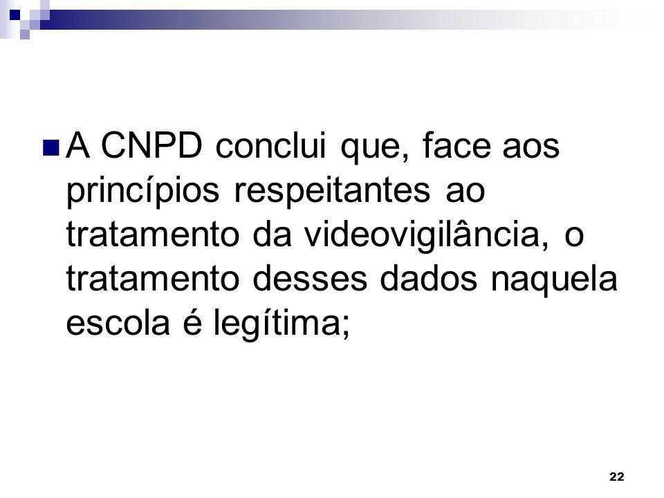 A CNPD conclui que, face aos princípios respeitantes ao tratamento da videovigilância, o tratamento desses dados naquela escola é legítima;