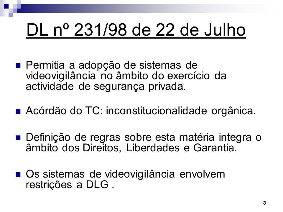 DL nº 231/98 de 22 de Julho Permitia a adopção de sistemas de videovigilância no âmbito do exercício da actividade de segurança privada.