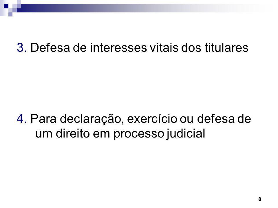 3. Defesa de interesses vitais dos titulares