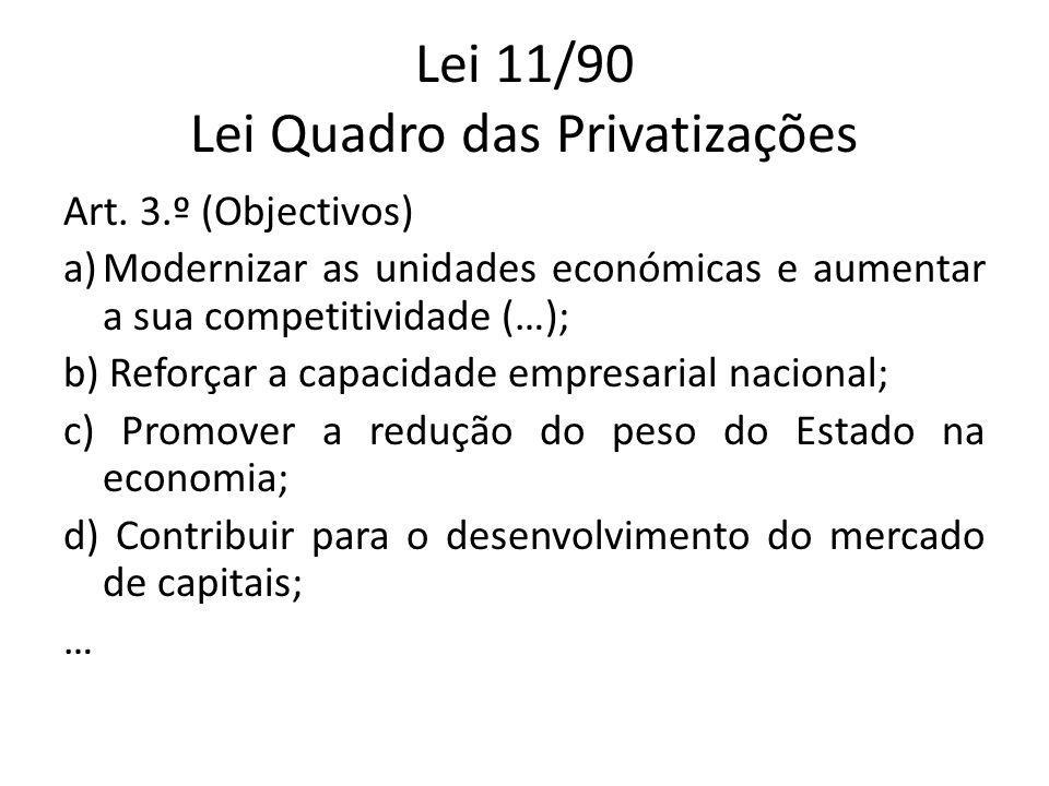 Lei 11/90 Lei Quadro das Privatizações