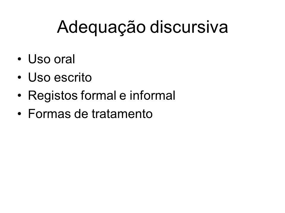 Adequação discursiva Uso oral Uso escrito Registos formal e informal