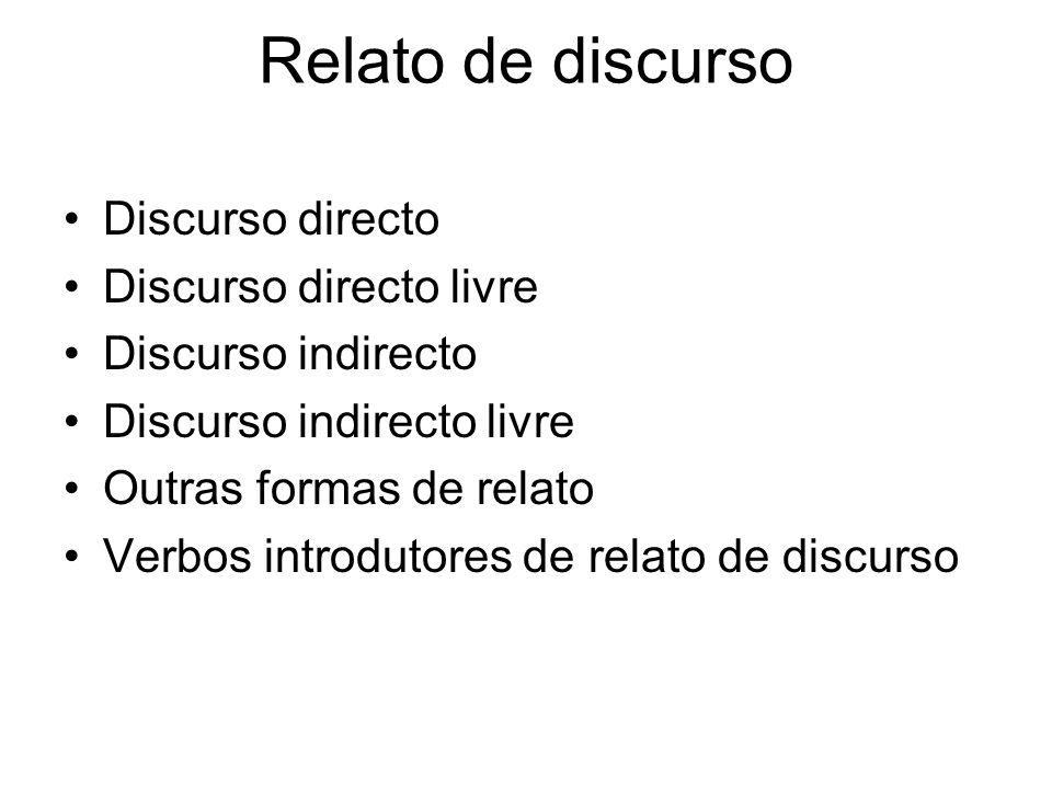 Relato de discurso Discurso directo Discurso directo livre