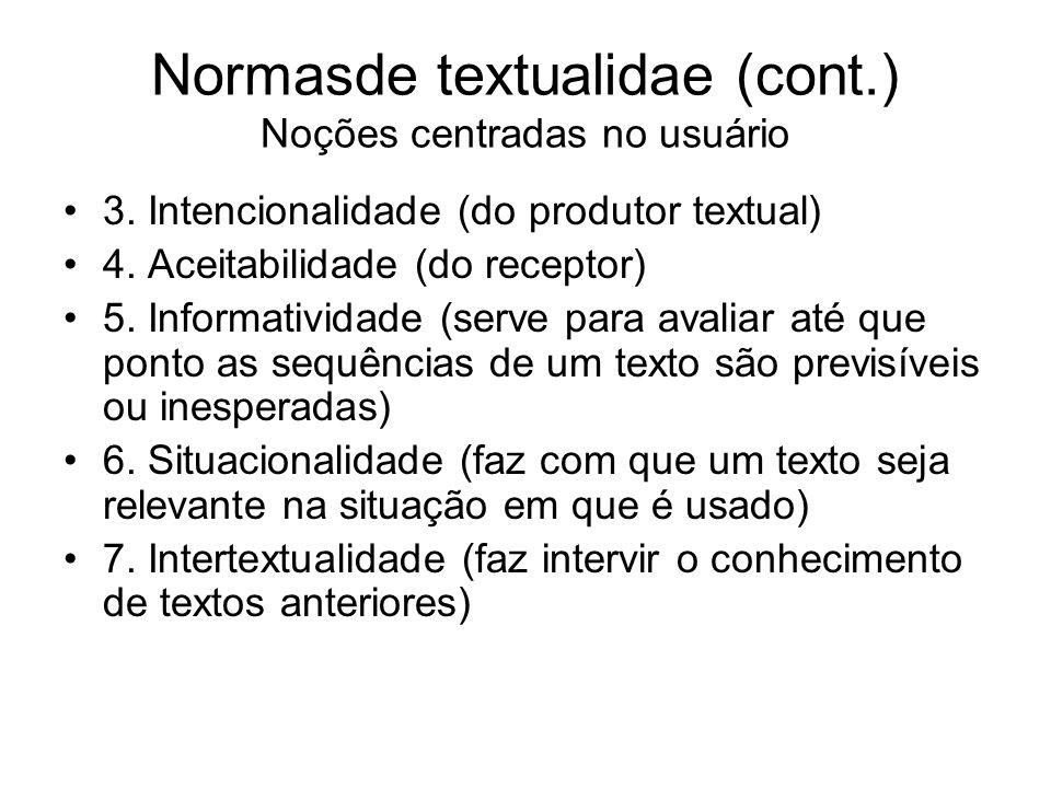 Normasde textualidae (cont.) Noções centradas no usuário